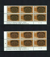 New Zealand: 1970 Pictorial definitive, 20c, 2 different plate blocks. MNH