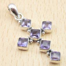 "Pendant ! Cut Amethyst Jewelry 1.5"" Everyday Wear ! 925 Silver Plated Cross"