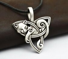 Celtic Necklace Knot Cat TRIQUETRA STAINLESS STEEL Pendant Pagan Ladies Mens