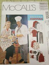 McCalls Pattern 2233 Unisex Uniforms Chef's Jackets Apron Hat Pants Xl 46 48