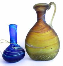 Lots 2 x Antique Holy Land PHOENICIA Hand Made Glass Pitchers Liquids Vases