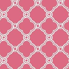 Wallpaper Designer Raised White Ink Open Circle Trellis on Pink Background