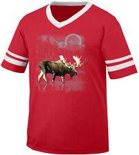 Moose Antlers Water Full Moon Nature Wildlife Forest Sky Men's V-Neck Ringer Tee