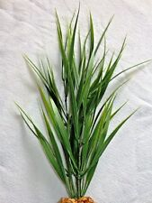 "16"" Medium WILD GRASS (not wired) Artificial Aquarium Plastic PLANT w/STONE BASE"