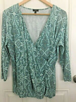 Talbots Crossover Paisley Knit Top SZ X (Large) Excellent Condition *