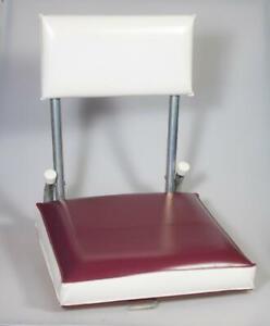Sterling Mfg Lloyd's of Texas Folding Stadium Seat Chair Burgundy & White Vinyl