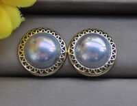 Z3405 Real 20 mm Gray South Sea Mabe Pearl Silver Earring
