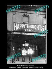 OLD LARGE HISTORIC PHOTO OF PORT MELBOURNE VIC, HAPPY THOUGHTS TOBACCO SHOP 1920