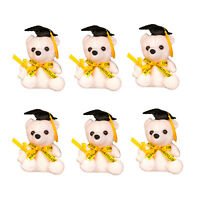 Cute White Teddy Graduation Bear with Cap Yellow Bow Ribbon and Diploma Gift 6""