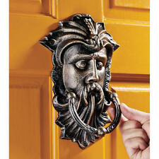 19th Century English Antique Replica Foundry Iron Greenman Estate Door Knocker