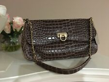 Lord Taylor Brown Embossed Leather Gold Chain Shoulder Handbag Medium