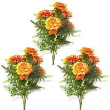 Set of 3 Artificial Orange Marigold Bush - 46 cm - Spring and Summer Flowers