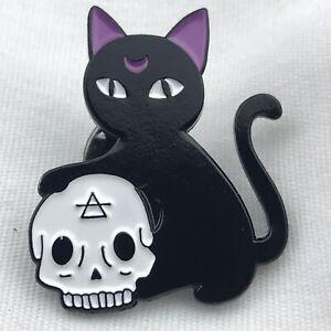 Black Cat Skull Pin Goth Witch Wiccan Dark Magic Occult Feline Pinback Brooch