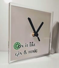 On it like gin & tonic drinks wall clock lounge kitchen 150x150x5mm