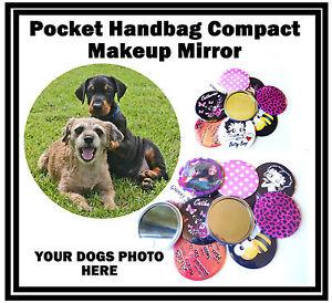Votre Chiens Photo Personnalisé - Main / Poche Maquillage Miroir Compact -