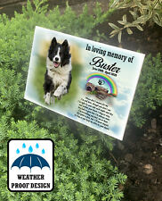 Personalised outdoor dog grave marker, tree stake, Pet loss memorial plaque.