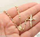 "18"" 3mm Rosary Chain Medallion Cross Crucifix Necklace Real 14K Tri-Color Gold"
