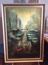 Oil Painting Original Chinese Street Scene 1960s