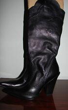 BCBG Girls Black Leather Cowboy * Western Boots ❤ High Heel Pointy 7.5 - Niche