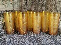 Vintage Set Of (7) Drinking Glasses Amber Embossed DRINKWARE MCM BROCKWAY