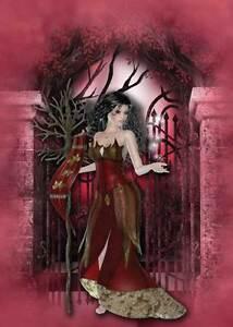 Burgundy Fairy Birthday Card for women & girls simply stunning in long red dress