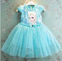 Bellissimo abito Elsa Frozen Disney bambina 2-10 anni tutu vestiti principessa