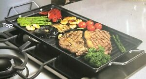 Carbon Steel Non Stick Dual Hob Top Griddle Plate BBQ Indoor Grill Gas Electric