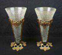 Vintage Mid Century Pair of Crackle Glass Vase Grape Cast Iron Gold Painted Vase