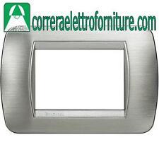 BTICINO LIVING INTERNATIONAL - placca 3 Moduli acciaio spazzolato scuro L4803AST