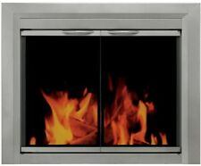 Small Glass Fireplace Doors Tempered Tinted Surface Mount Satin Nickel Finish