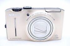 Nikon Coolpix S8100 12.1MP Digitalkamera gold mit Zubehör