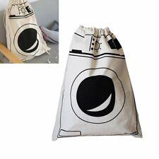 Canvas Kid Toy Storage Bag Washing Machine Pattern Laundry Basket Drawstring