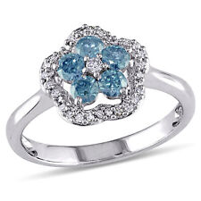 Amour 14k White Gold Blue and White Diamond Ring