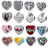 European Love Heart Bead 925 Silver Tibetan Charm Pendant Bead Fits Bracelet DIY