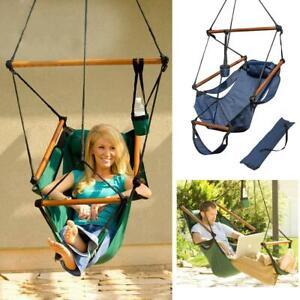Outdoor Indoor Hanging Hammock Chair Air Deluxe Swing Chair Solid Wood 2 color