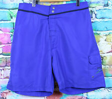 Speedo Royal Blue Swimming Shorts Size XL Side Pocket Button Up Teal Style Logo