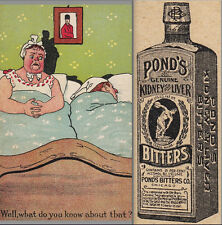 Pond's Bitters Kidney & Liver Cure Anxious Wife Bed Headache Advertising Card