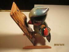 Vintage metal litho wind up Woodpecker toy