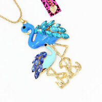 Betsey Johnson Blue Enamel Crystal Flamingo Bird Pendant Sweater Chain Necklace