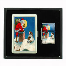 VINTAGE CHRISTMAS D4 CIGARETTE CASE / WALLET & LIGHTER GIFT SET OLD FASHIONED