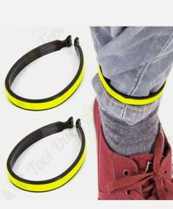 2 x REFLECTIVE CYCLING TROUSER CLIPS Hi-Vis Bicycle Clothing Safety Ankle Wrap