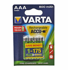 VARTA AAA NiMH High Performance Rechargeable Batteries 800mAh - 4 in Pack