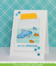 Lawn Fawn clear acrylic stamps & matching dies - DUH-NUH, shark
