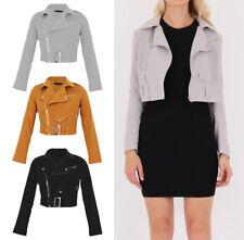LADIES Faux SUEDE Side Zip CLASSIC Women Belted Crop BIKER JACKET Coat 8-16 UK