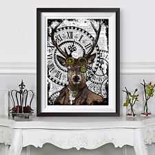 Deer Poster Print Hipster Animal Steampunk Funky A3 Poster Dictionary