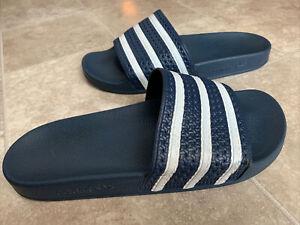 adidas 288022 ADILETTE Slides Sandals White Navy Flip Flops Men's Size 9 Italy