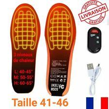 Semelles chaussures Chauffantes sans fil USB 3 niveaux de température DIM: 41-46