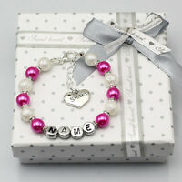 New name Personalised Girls baby Birthday Christmas Gift Charm Bracelet With Box