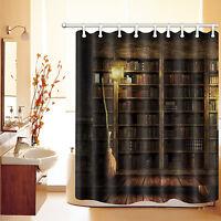 "60x72"" Shower Curtain Polyester Waterproof Fabric Halloween Vintage Bookshelf LT"