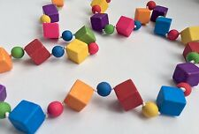 Funky chunky multi coloured Summer longline cube necklace - UK seller